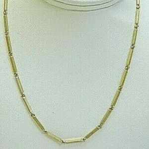 18K Solid Yellow Gold Handmade Gold Bar Necklace